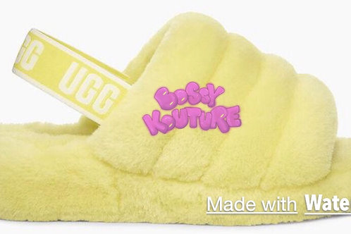 YELLOW UGG SLIDES