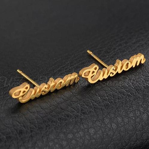 STERLING GOLD CUSTOM NAME EARRINGS