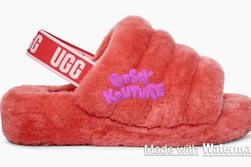 RED UGG SLIDES