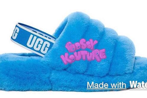 BLUE UGG SLIDES