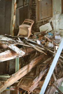 Here's a close-up of a desk on the former second floor.