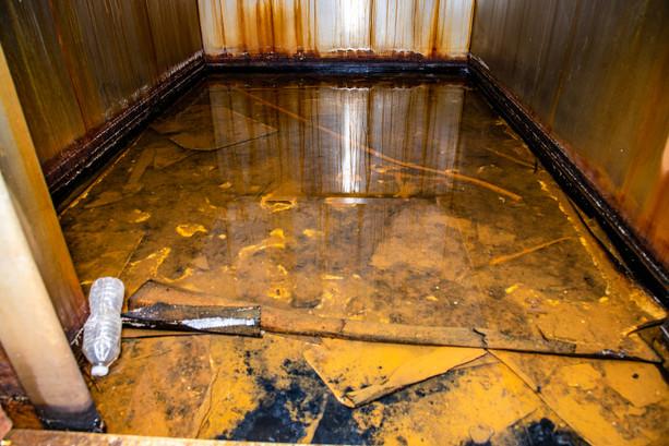 Elevator floor.