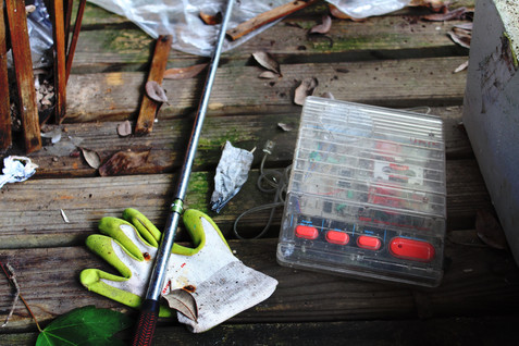 Glove, golf club & answering machine