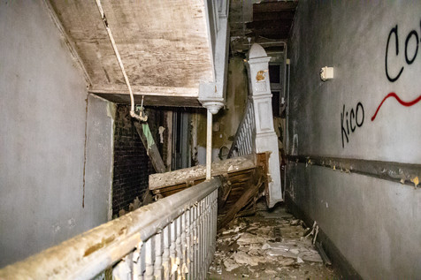 This is the set of stairs on the other side of the school that have fallen in. Effectively eliminating access to the third floor.