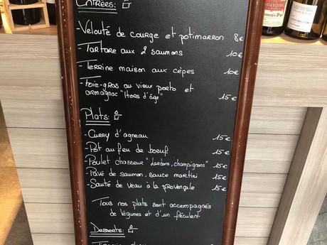 Carte des menus à emporter