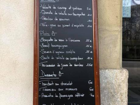Carte des menus à emporter semaine du 23 Novembre