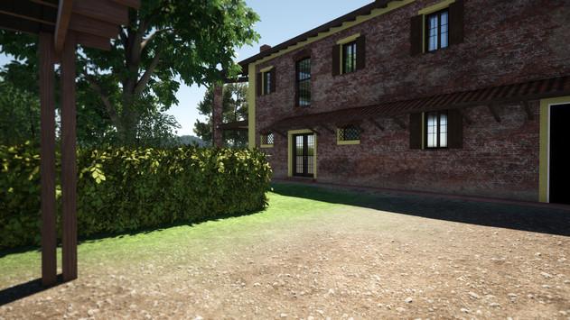 Modellazione 3D e Render di esterni per un casolare di campagna in ristrutturazione. Particolare lato Nord con progettazione tettoia in legno, con vincoli stilistici per il comune di appartenenza in accordo con le richieste della committenza.