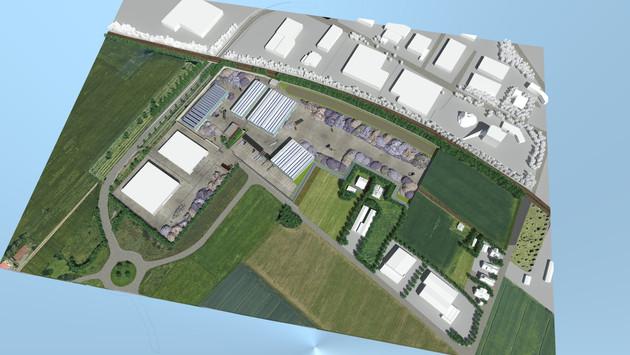 Ricostruzione con modellazione 3D e Render di complesso industriale geolocalizzato