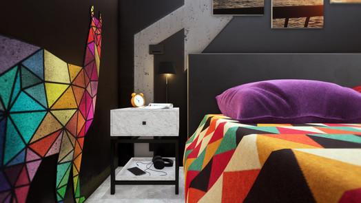 Modellazione 3D e Render d'interni. Particolare camera da letto.