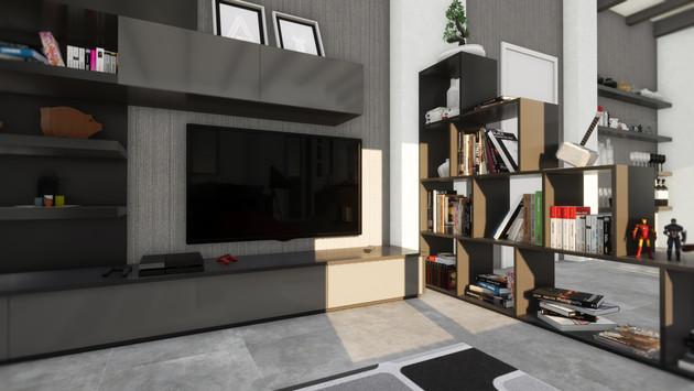 Modellazione 3D e Render d'interni. Particolare del soggiorno.