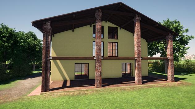 Modellazione 3D e Render di esterni per un casolare di campagna in ristrutturazione. Particolare della facciata del fienile ristrutturato.