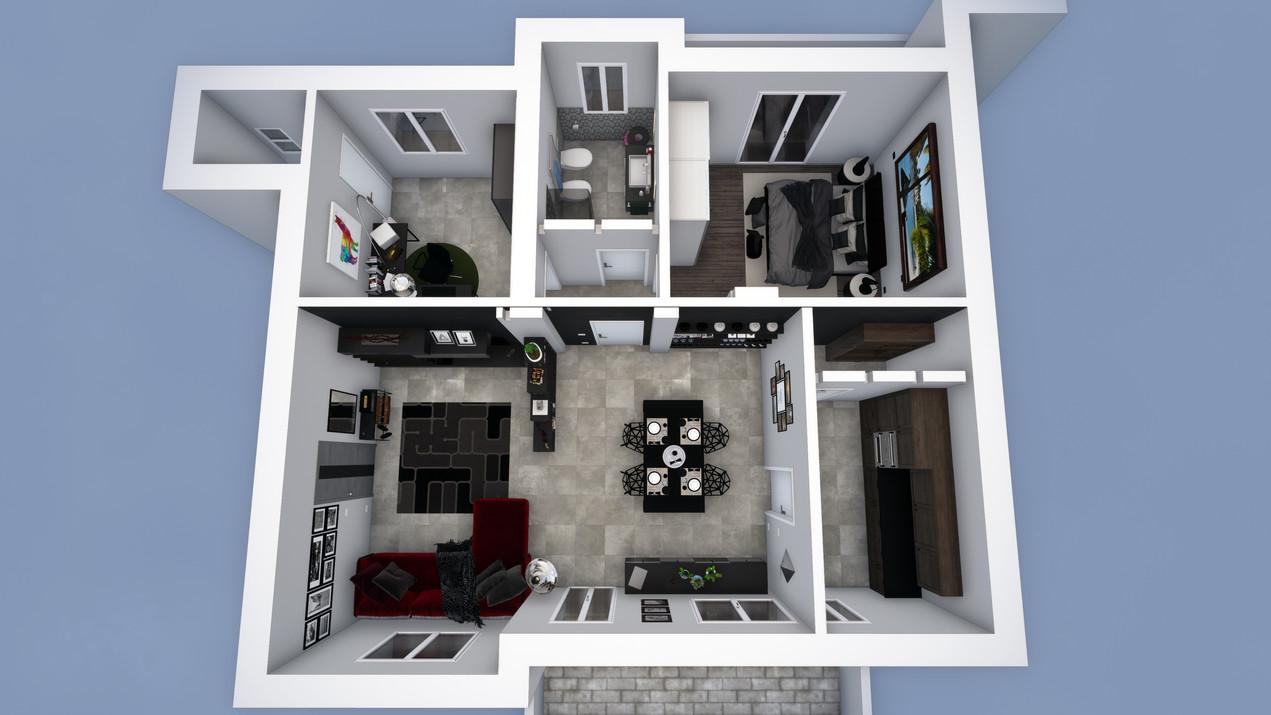 Modellazione 3D e Render complessivo di un appartamento