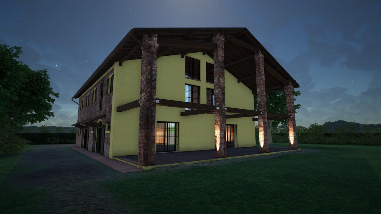 Modellazione 3D e Render di esterni per un casolare di campagna in ristrutturazione. Vista in notturna.