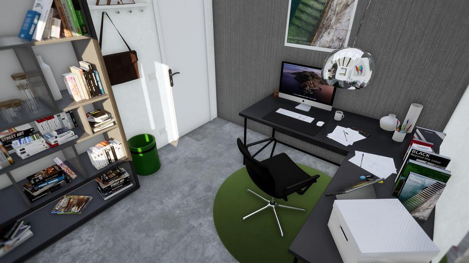 Modellazione 3D e Render d'interni. Particolare dello studio.