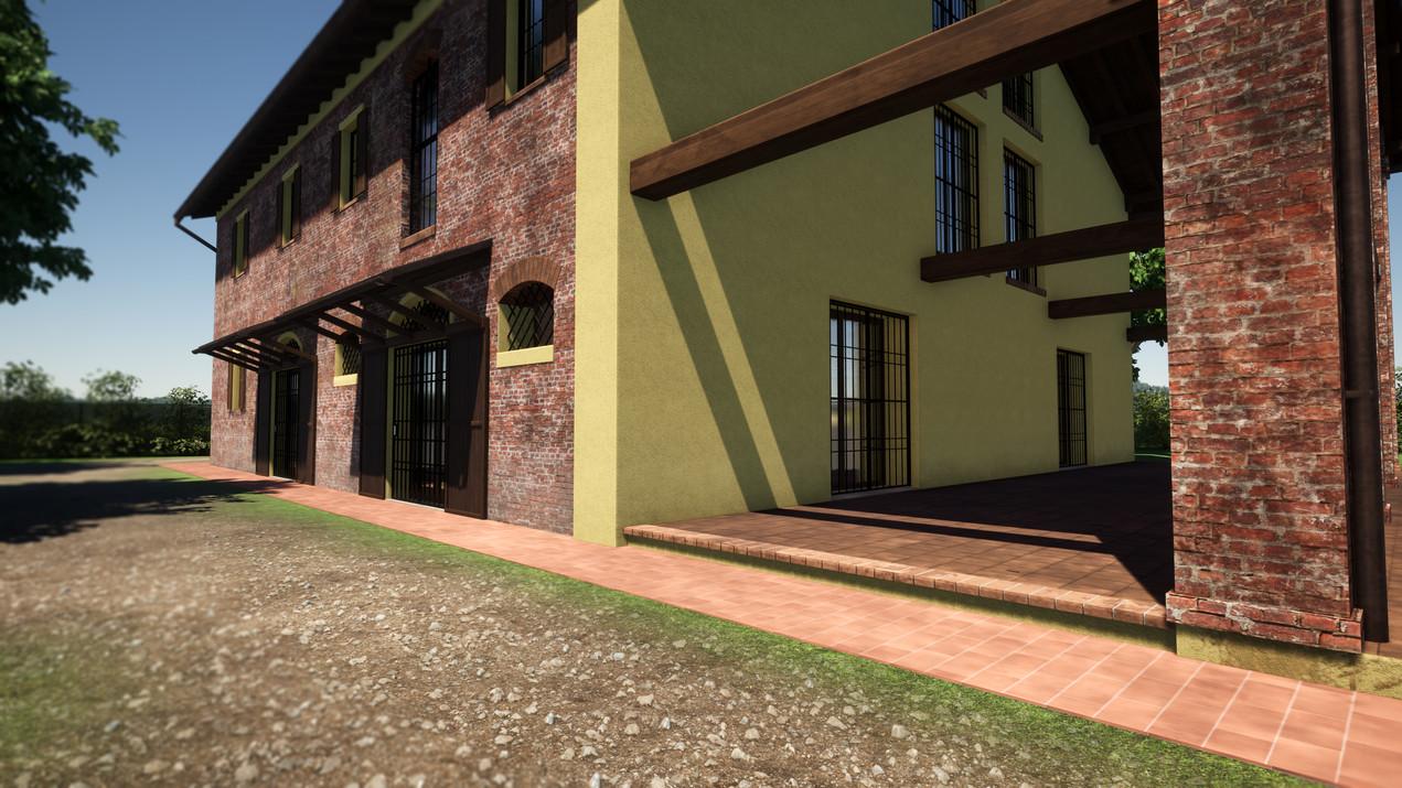 Modellazione 3D e Render di esterni per un casolare di campagna in ristrutturazione. Particolare lato Sud con progettazione tettoie in legno per gli ingressi, con vincoli stilistici per il comune di appartenenza.