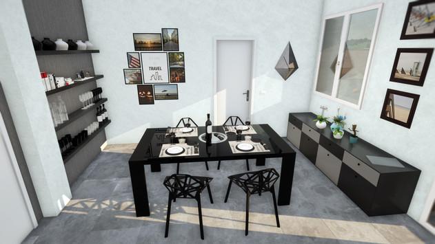 Modellazione 3D e Render d'interni. Particolare della sala da pranzo.