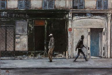 Dans une rue - 3 ( Huile sur bois 60 x 4