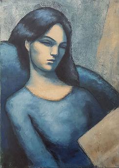 Lectrice bleue Huile sur toile 70x50.jpg