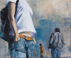 Dans une rue- 2  ( huile sur toile 61 x