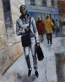 Dans une rue - 9 ( Huile sur toile 81 x
