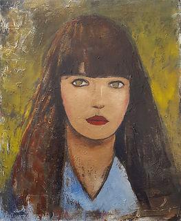 Jeune fille de face Huile sur toile 73x5