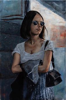 Dans une Rue - 13 ( Huile sur toile 90 x