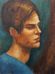 Jeune homme au pull bleu  Huile sur toil
