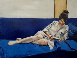 Lectrice en kimono blanc  Huile sur toil