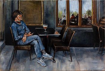 Tarrasse- 9 ( Huile sur toile 90 x 60 ).