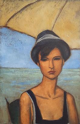 Femme au bord de la mer  Huile sur toile