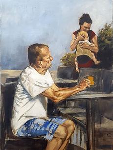 En Terrasse 09 ( huile sur toile81 x 60