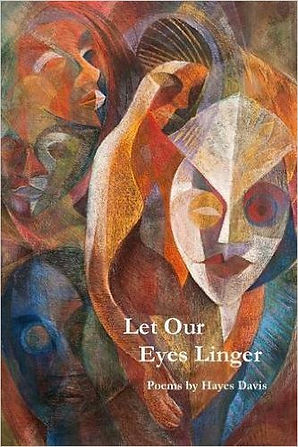 A poetry book cover with white writing over a chalk art piece of faces and a Black woman's body.