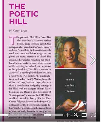 The Poetic Hill column of The Capitol Rag newspaper featuring a picture of Teri and her book cover.
