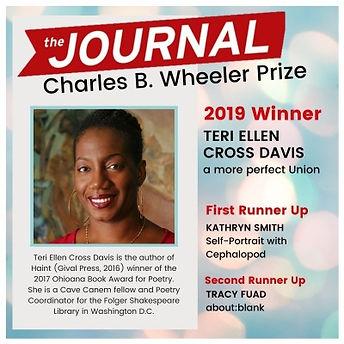 The Journal Charles B. Wheeler Prize announcement featuring Teri Ellen Cross Davis.