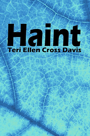 Magnified onion skin with a blue tint. The title of the poetry book is HAINT.