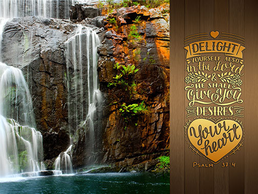 Outdoor 3'x4' Vinyl Banner - Waterfall with Scripture - Psalm 37:4