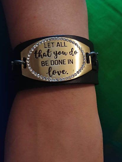 """DO ALL THINGS IN LOVE"" Leather and Steel Plate Bracelet"