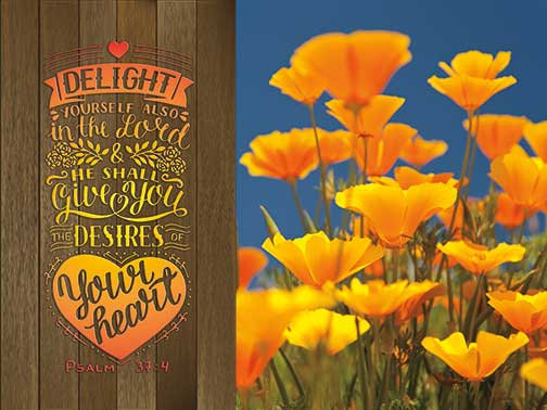 Outdoor 3'x4' Vinyl Banner - Poppies with Scripture - Psalm 37:4