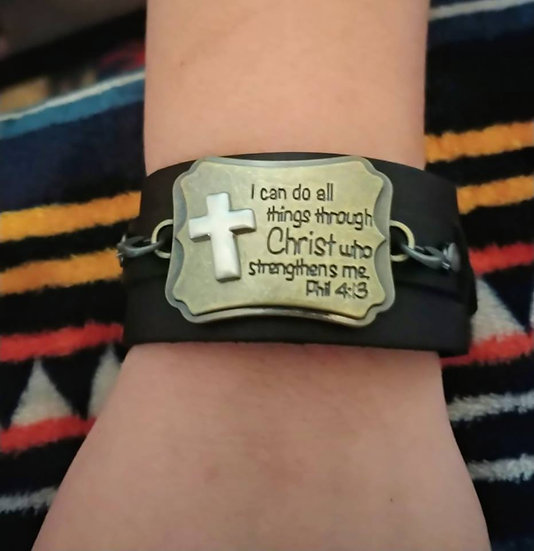 """""""PHILIPPIANS 4:13"""" Leather and Steel Plated Bracelet"""