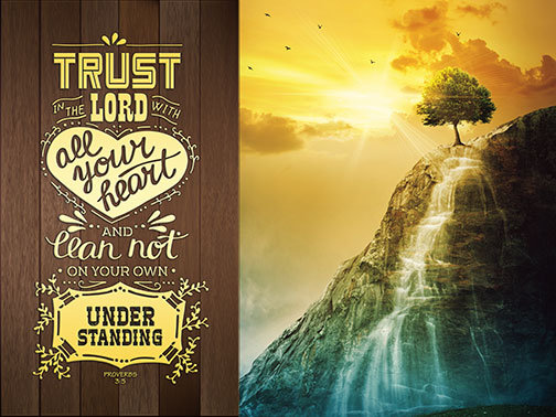 Outdoor 3'x4' Vinyl Banner - Waterfall and Sunset with Scripture - Psalm 37:4