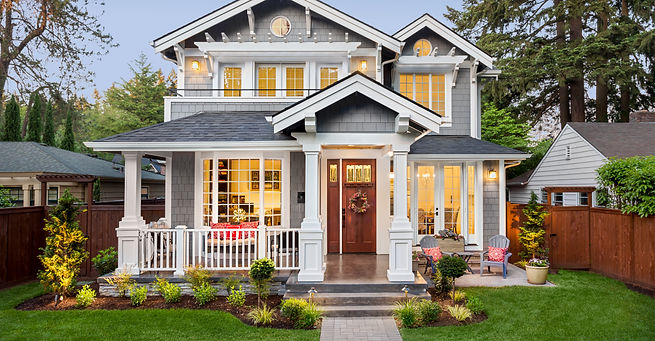 Beautiful Luxury Home Exterior in Evenin