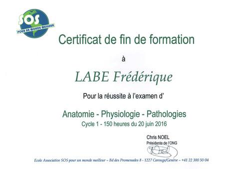 Diplôme-Anatomie Frédérique Labe
