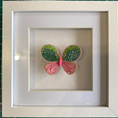 Quilled butterfly - pinks and greens
