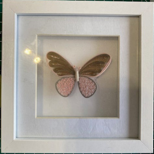 Quilled butterfly - pink and gold