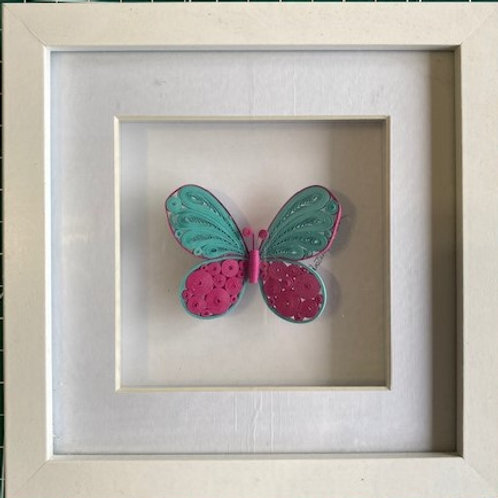 Quilled butterfly - tiffany blue and hot pink