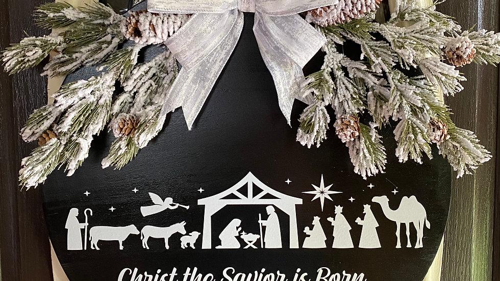 """18"""" Christmas Nativity Door Hanger"""