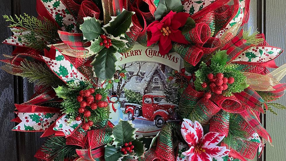 "24"" Christmas mesh wreath w/red truck"