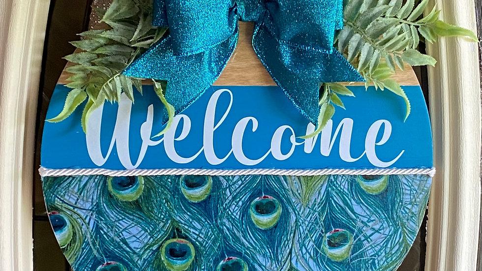 """14"""" Wooden Door Hanger Peacock"""