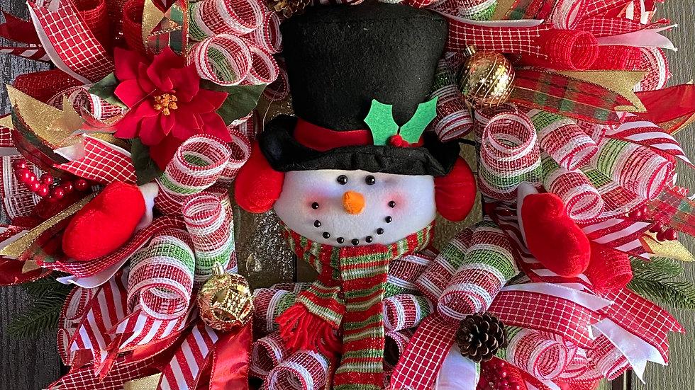 """30"""" Snowman mesh wreath"""