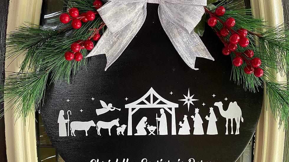 """14"""" Christmas Nativity Door Hanger"""